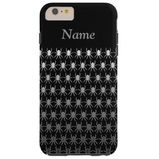 White and grey spiders on black 6/6s personalised tough iPhone 6 plus case