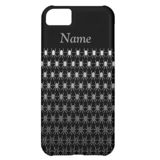 White and grey spiders on black personalised iPhone 5C case