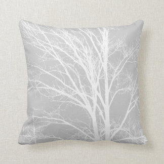 White and Grey Tree Branches Cushion
