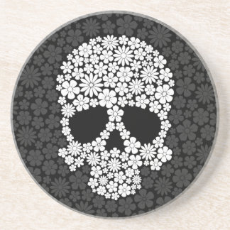 White and Grey Wild Flowers Skull Coaster