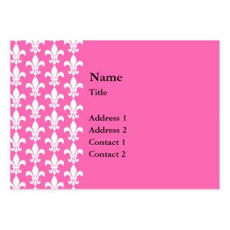 White and Hot Pink Fleur de Lis Pattern Business Card Templates