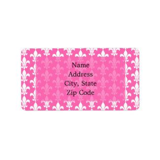 White and Hot Pink Fleur de Lis Pattern Label