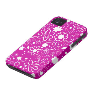 White and Hot Pink  Floral Pattern iPhone 4 Case-Mate Case