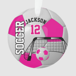 White and Hot Pink Personalize Soccer Ball Ornament