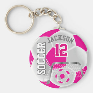 White and Hot Pink Team Soccer Ball Key Ring