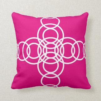 White and Hot Pink Trellis Stripe Throw Pillow