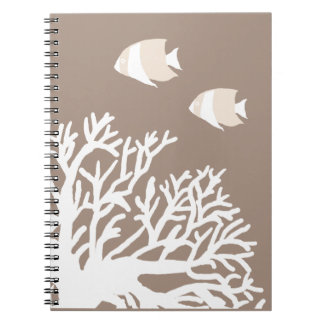 White and Ivory Beige Tropical Angelfish Notebooks