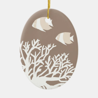 White and Ivory Tropical Coral and Angelfish Ornaments