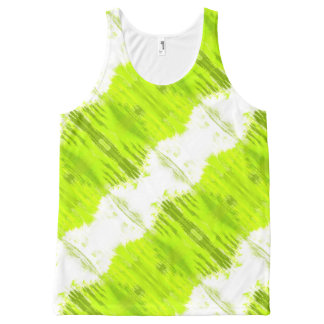 White And Kiwi Green Abstract All-Over Print Tank Top