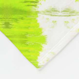 White And Kiwi Green Abstract Fleece Blanket
