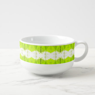White And Kiwi Green Abstract Soup Mug