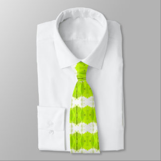 White And Kiwi Green Abstract Tie