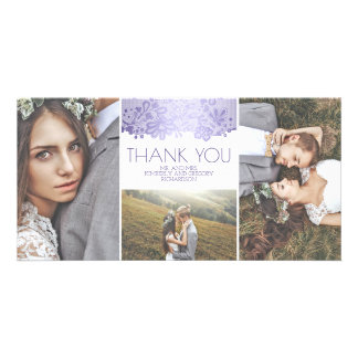 White and Lavender Lace Wedding Thank You Customised Photo Card