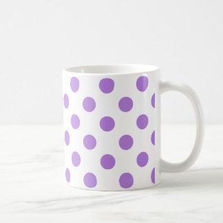 White and Lavender Polka Dots Basic White Mug