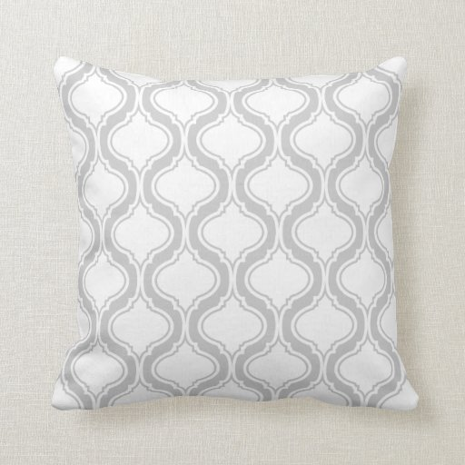 White And Light Gray Geometric Pattern Throw Pillows