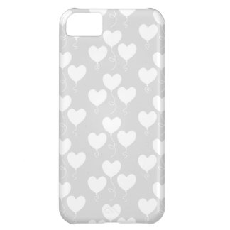 White and Light Gray Pattern of Heart Balloons. iPhone 5C Case