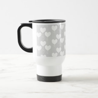 White and Light Gray Pattern of Heart Balloons. Travel Mug