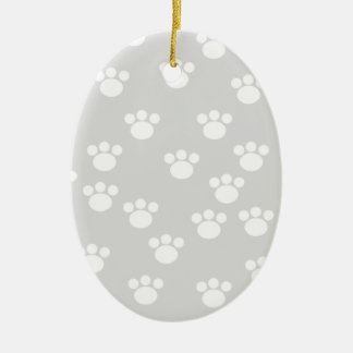 White and Light Gray Paw Print Pattern. Christmas Ornament