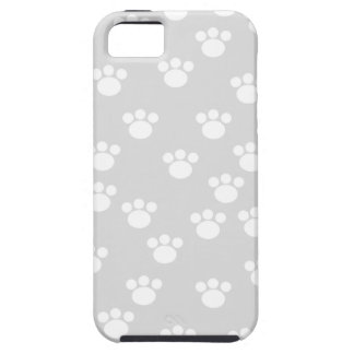 White and Light Gray Paw Print Pattern. iPhone 5 Case