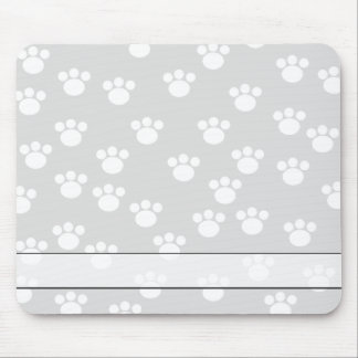 White and Light Gray Paw Print Pattern. Mouse Mat