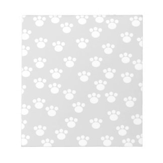 White and Light Gray Paw Print Pattern. Notepads