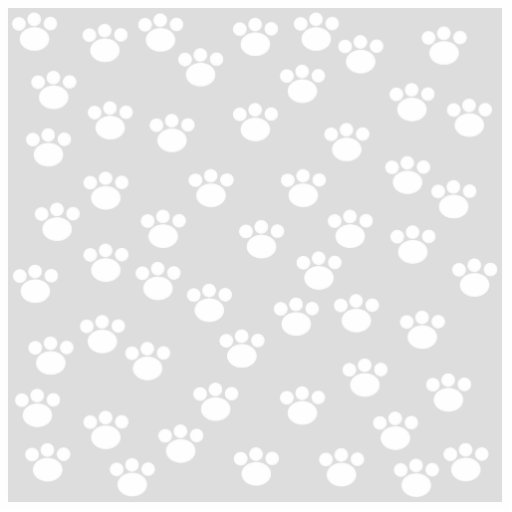 White and Light Gray Paw Print Pattern. Acrylic Cut Outs