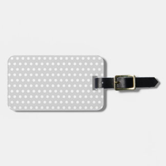 White and Light Gray Polka Dot Pattern. Luggage Tag