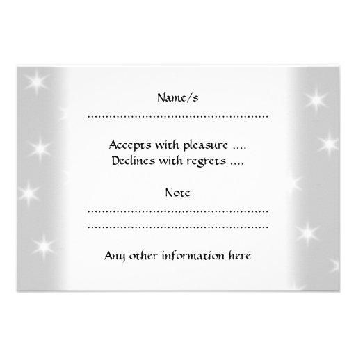 White and Light Gray Star Pattern. Custom Invites