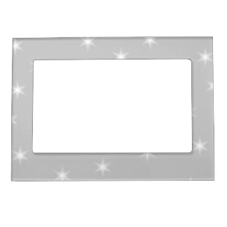 White and Light Gray Star Pattern. Magnetic Picture Frame