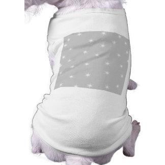White and Light Gray Star Pattern. Sleeveless Dog Shirt