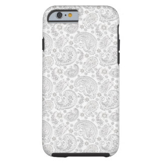White And Light Gray Vintage Paisley Pattern Tough iPhone 6 Case