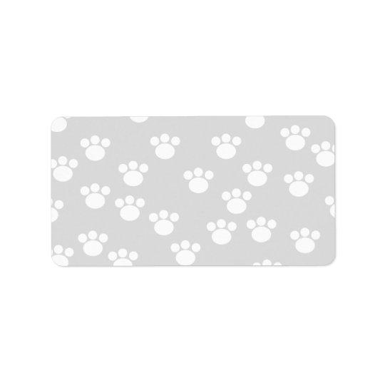White and Light Grey Paw Print Pattern. Address Label
