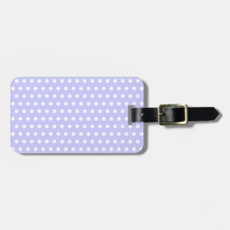 White and Lilac Purple Polka Dot Pattern. Spotty. Luggage Tag