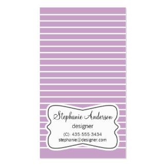 White and Lilac Purple Stripes Business Card