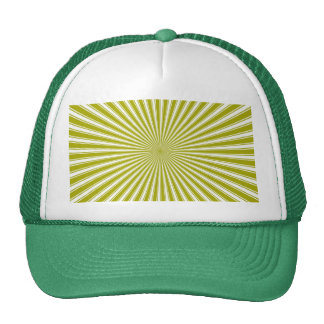 White and Lime Funky Striped Abstract Art Cap