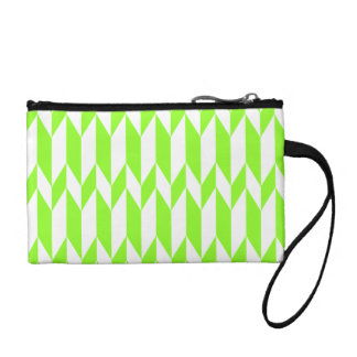 White and Lime Green Abstract Graphic Pattern. Coin Purse