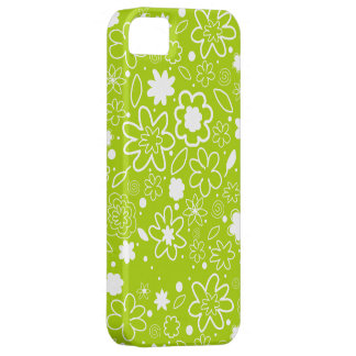 White and Lime Green Floral Pattern iPhone 5 Cover