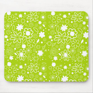 White and Lime Green Floral Pattern Mouse Mat