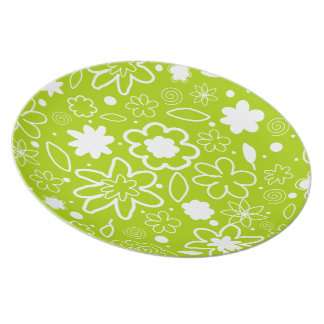 White and Lime Green Floral Pattern Plate