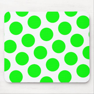 White and Lime Polka Dots Mouse Mat