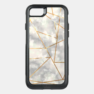 White and Marble with Faux Gold Foil Shapes OtterBox Commuter iPhone 8/7 Case