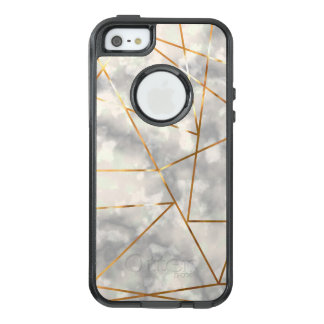 White and Marble with Faux Gold Foil Shapes OtterBox iPhone 5/5s/SE Case