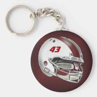 White and Maroon Football Helmet Key Ring
