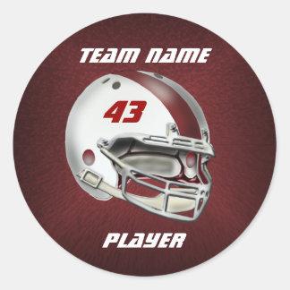 White and Maroon Football Helmet Round Sticker