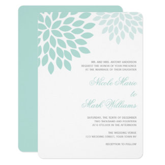 White and Mint Chrysanthemums Wedding Card
