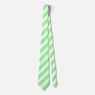 White and Mint Green Diagonal Stripes Tie