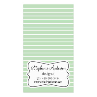 White and Mint Green Stripes Business Card