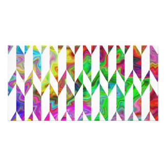 White and Multicolor Abstract Graphic Pattern Personalized Photo Card