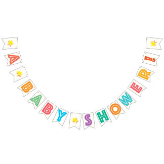 WHITE AND MULTICOLORED TEXT ☆ A BABY SHOWER ☆ SIGN BUNTING