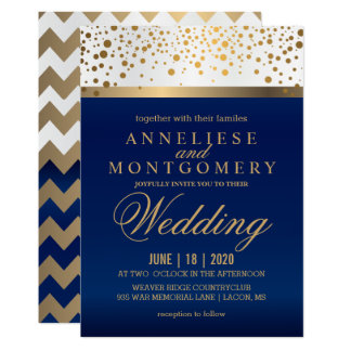 White and Navy Blue with Gold Dots - Invitation